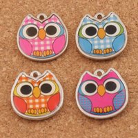 Wholesale diy for sale - Enamel Owl Charms Pendants L1557 x19 mm Colors Two Sided Charm Jewelry DIY Hot sell