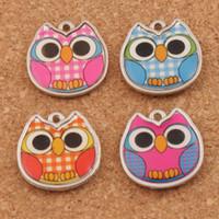Wholesale Enamel Owl - Enamel Owl Charms Pendants L1557 18.8x19.3mm 100pcs lot 4Colors Two-Sided Charm Jewelry DIY Hot sell
