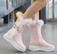 New Arrival Hot Sale Specials Super Fashion Influx Warm Winter Rabbit Hair Cotton Cheap Knight Buckle Platform Noble Casual Boots EU34-39