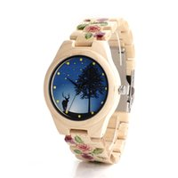 Wholesale Movement Miyota - Mens Watches Blue Elk Wood Mens Womens Watch Wooden With Wooden Band Japanese Miyota 2035 Quartz Movement Round Watches SY-WD308