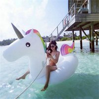 Tubos infláveis ​​de flutuador Gigante Unicórnio Pegasus Água Natação Float Raft Air Colchão Swim Ring Ride-On Pool Beach Toy DHL / Fedex Shipping