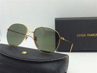 Wholesale Linda Gift - LINDA FARROW Green lenses Sunglasses Metal frame Eyewear Gift Box