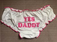 Acheter Mignonne fille cosplay-OUI DADDY Kawaii Cute Lolita Good Girl Funning Pink Lettes Des bretelles imprimées avec Bow, Sexy Underwear Brief, White Cotton Sleep Panties Cosplay