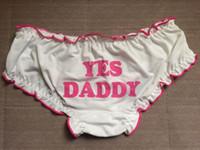 ingrosso buone ragazze carine-YES DADDY Kawaii Cute Lolita Good Girl Funning Pink Letters Slip stampati con fiocco, slip sexy intimo, cotone bianco mutandine sonno Cosplay