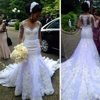 Wholesale Robe Casamento - Robe De Mariage Scoop Neck Sheer Long Sleeves Muslim Mermaid Full Lace Wedding Dress Plus Size 2017 Bride Vestido De Novia Casamento