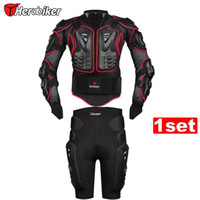 HEROBIKER Red Motorcycle Riding Body Armor Protection Jacket + Motorcross Off-Road Racing Protetor Hip Pads Black Shorts