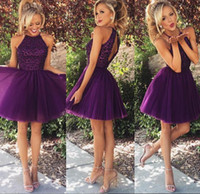 Wholesale Dress Best Popular - Homecoming Gowns Grape Pleated Special Occasion Short Cocktail Dresses A Line Beaded Hollow Modern Best Made Top Selling Popular