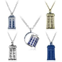 Wholesale Mystery Piece - High quality Selling mystery doctor phone booth silver house phone booth pendant necklace WFN413 (with chain) mix order 20 pieces a lot