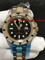 Wholesale Custom Engraved Tags - Fashion Luxury Wristwatch 18K Mens Yellow Gold 40MM Custom Diamond Watch Two Tone Engraved Watch Automatic Men Watches Top Quality New