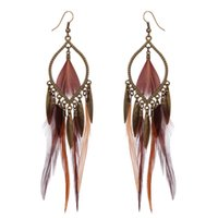 Wholesale Exotic Tassels - Exotic Style Exaggerated Earrings 10PRS Feather Earrings For Women Vintage Alloy Tassel Pendant Charm Earrings Fashion Jewelry Gift