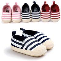 erkek örgüleri toptan satış-Toddlers ayakkabı Bebek Ilk Yürüyüşe Erkek Sneakers Çizgili Kumaş ayakkabı Unti kayma örgü Bebek Çocuk ayakkabı Yumuşak ışık 0-1 yıl Analık yeni DHL