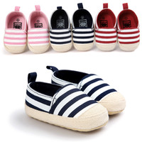 Wholesale Maternity Cloths - Toddlers shoes Baby First Walkers Boys Sneakers Striped Cloth shoes Unti slip braid Infant Kids shoes Soft light 0-1 year Maternity new DHL
