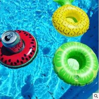 Wholesale Floating Pool Mats - Inflatable Toy Drink Cup Holder Watermelon Lemon Pineapple Shaped Ins Floating PVC Mat Floating Pool Donut Flamingos Toys Party Accessory