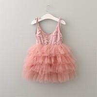 Wholesale Tulle Slips - 2017 New Girl Princess Dress Embroidery Flufffy Tulle Cake Dress Princess Slip Dress Children Clothing 2-7Y 16149