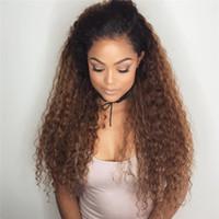 bakire saç danteli iki ton toptan satış-2017 yeni varış 150% yoğunluk iki ton renk insan saçı peruk # 1b # 30 ombre dantel ön peruk bakire Brezilyalı tam dantel peruk