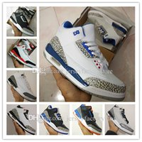 Wholesale Cheap Glitter Powder - Cheap New Retro 3 trainers mens basketball shoes wolf grey sport blue Black Cement White True Blue Dark Powder Blue Sport sneakers boots