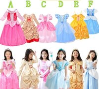 Wholesale Snow White Clothing Girls - New Girls Cinderella Dresses Children Snow White belle Princess Dresses Rapunzel Aurora Kids Party Costume Clothes Free Shipping