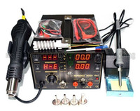 Wholesale Hot Air Iron - 4in 1set 909D 853d+ 110V 220V Hot Air Gun Rework Station Soldering iron + Heat Gun + Power Supply Welding Repair Solder Station MYY