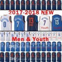 Wholesale Oklahoma City - 2017-18 New Youth Men's Oklahoma City 7 Carmelo Anthony 13 Paul George Jersey Thunder 0 Russell Westbrook Kid's stitching OKC Jerseys