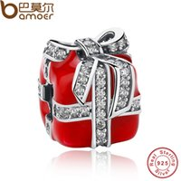 Venda Por Atacado Pandora Authentic 925 Sterling Silver Sparkling Bow Surpresa Gift Box Red Enamel Clear CZ Charm Fit Bracelet Berloque