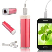 banka ruj toptan satış-2600 mAh mini ruj Güç Bankası evrensel tüm cep telefonu için USB Harici Yedekleme Pil iPhone / samsung / htc vb cep telefonu