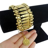 Wholesale Bohemia Vintage Bracelet - Wholesale-Bohemia Carved Plated Silver Coin Bracelet For Women Vintage Tassel Chunky Bracelet Bangle Famous Brand Acciaio Femme Luxury