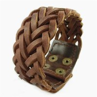 Wholesale Indian Weave Wholesale Jewelry - Vintage Genuine Leather Men Bracelets Punk Handmade Braided Wide Cuff Rope Bracelet Woven Wristband Bangles For Men Jewelry