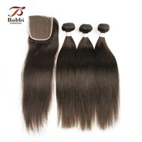 Wholesale Malaysian Silky - Dark Brown Malaysian Hair Weaves 3 Bundles with Lace Closure Color 4 Silky Straight Remy Human Hair Free Middle Three Part Closure