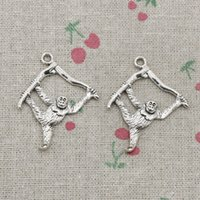 Wholesale Hanging Charms Pendant - 35pcs Charms hanging monkey 39*32mm Antique Silver Pendant Zinc Alloy Jewelry DIY Hand Made Bracelet Necklace Fitting