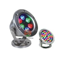Wholesale Outdoor IP Lighting LED Under Water spotlight RGB LED Swimming Pool light V V Fountain Lights W W W W Lamps