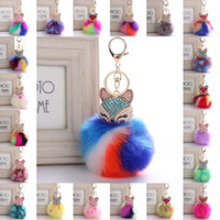 Cute Key chain Fox Rainbow Color Pom Pom Fur Ball Rhinestone Keychain Bag Car Ring Брелок Пушистый брелок для девочки B763S