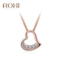 Wholesale Gold Heart Shaped Pendant Necklace - ROXI Brand Necklace For Women Rose Gold Color Heart-shaped Half-zircon Necklace Pendant Girls Jewelry Choker Cheristmas Gift