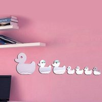 Wholesale Wholesale Children Wall Decor - 7pcs lot ducks decorative acrylic wall mirror stickers for children room decor home decoration 13x40cm(5x16in) MS017