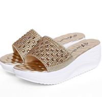 Wholesale Comfortable Gold Sandals - New gold sliver rhinestone women slippers 2016 sandalias summer wedge platform sandals fashion comfortable slides shoes woman