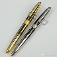 Wholesale Quality Office Plastic Ball Pens - M-163 M.Stuck High Quality MBPEN Office School Black & Golden   Silver Stripe and Trim Roller Ball Pen+1 Additional Refills+1 Velvet Pouch