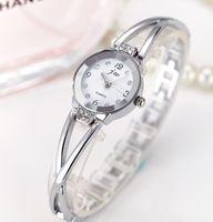 montre bracelet en cristal rond achat en gros de-Date Marque Stainess Chaîne En Acier Robe Montres Filles Montre À Quartz Bracelet Montre Dames De Mode Femmes Cristal Rond Montre-Bracelet