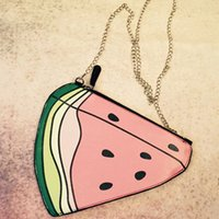 Wholesale Banana Key Chains - Wholesale- Korean Style Funny Banana Chain Bag Watermelon Messenger Bag Girl Fruit Shoulder Bag Ladies Key Case Clutch Wallets for Phone