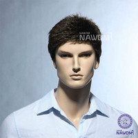 Wholesale Mens Ombre - Free Shipping Heat Resistant >> Dark Brown Western Handsome Mens Wig Short Straight Hair Wigs