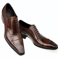 Wholesale Black Men Dress Shoe - Fashion Italian Men Shoes Genuine Leather Mens Dress Shoes Sales Carved Designer Wedding Male Oxford Shoes Men Flats