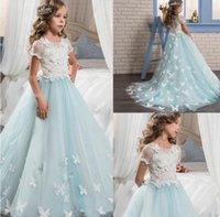 Wholesale Pretty Ball Gown Prom Dresses - Pretty Lace Little Bride Flower Girl Dresses Short Sleeves With Cute Butterfly Sweep Train 2017 Kids Glitz Pageant Prom Party Gowns