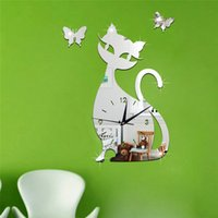 Wholesale Art Home Furniture - 2017 new sale diy wall clock clocks home decoration mirror acrylic 3d stickers furniture quartz needle cat free shipping