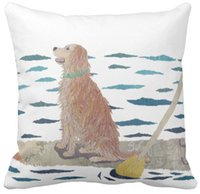 "Wholesale Beach Paddles - Throw Pillow Case Golden Retriever, Beach Dog, Paddle Board Square Sofa Cushions Cover, ""16inch 18inch 20inch"", Pack of X"