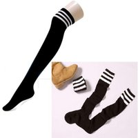 Wholesale Thick Thigh High Socks - Wholesale- Lady Women Sexy Over Knee Socks Thigh High Thick Socks Striped Stockings Striped For Dating Cosplay 2016 New