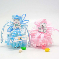 Wholesale yarn basket - New Arrival-24pcs Blue Pink Color Yarn Basket Candy Box Boy Girl Gift Bags Baby Shower Birthday Party Decorations Supplies