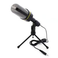 condensador de grabación al por mayor-Condensador profesional Home Audio Studio Micrófono de grabación de sonido 3.5mm Jack MIC Shock Mount para Skype Desktop PC Notebook Computer