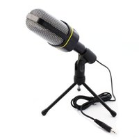 skype için mikrofon toptan satış-Profesyonel Kondenser Ev Ses Stüdyosu Ses Kayıt Mikrofon 3.5mm Jack MIC Masaüstü Skype Masaüstü PC için Şok Dağı