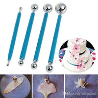 Wholesale Decorating Stocking Flowers - 4pcs Stainless Molding Ball Tool Sticks Sugarcraft Fondant Cake Decorating Kit Flower Molds Kitchen Dessert Decoration Supplies