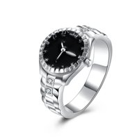 Wholesale Rings Clock - Trendy 925 silver Luxury Crystal Ring clock Watch Band shaped Finger Zircon Ring for Women Big Size 7 8 R887