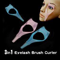 Wholesale Novelty Combs Wholesale - Wholesale-2016 New Hot Item 3 in 1 Mascara Eyelash Brush Curler Lash Comb Novelty Multifunction Cosmetic