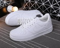 Wholesale Air Drilling - Casual leather shoes HIGH Quality Men Women upgraded version New All White Shoes and black with Air drill size 36-44 Free shipping run shoes